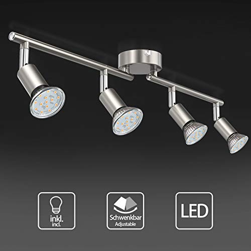 Uchrolls LED Deckenleuchte Schwenkbar, 4 Flammig, inkl. 4 x Leuchtmittel GU10 LED, 380LM, Warmweiß, LED Deckenlampe LED Deckenspot LED Deckenstrahler LED Leuchte