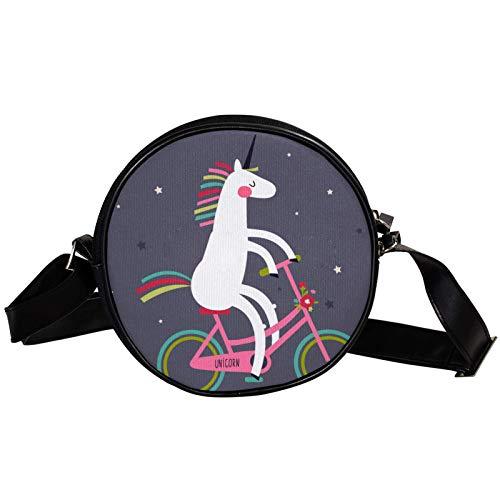 Bandolera redonda pequeña bolso de mano para mujer, bolso de hombro de moda, bolso de mensajero de lona, bolsa de cintura, accesorios para mujer, divertido unicornio para montar en bicicleta