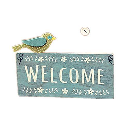Garten Willkommen Zeichen Retro House Dekoration Eintrag Massivholz-Doppelseitiges Welcome Card Wandbehang Welcome Card for Garden Bar Cafe Shop Tor Tür (Farbe: Eine Farbe, Größe: 24X14cm) Jialele