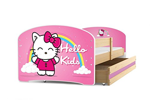 Interbeds Lit Enfant LUKI 160x80 avec sommier, Matelas et tiroir-Coffre en PIN Naturel + Le Sticker Choisi (pin+Hello Kids)