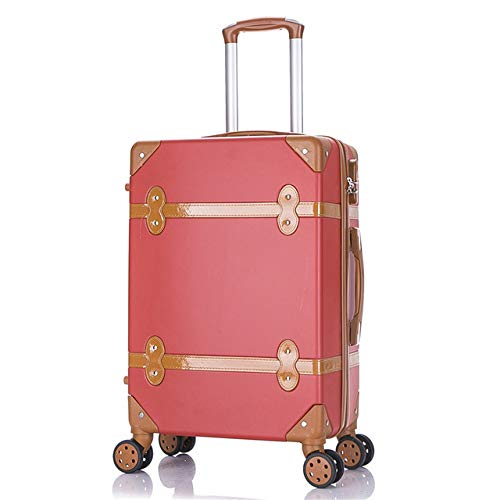 KQATCJ Lightweight Luggage 20' 22' 24' 26' inch women hard retro rolling luggage set trolley baggage with cosmetic bag vintage suitcase for girls For going out for business