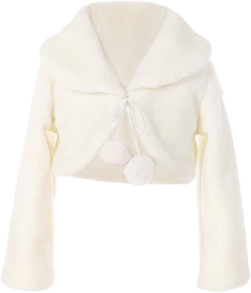 FAYBOX Cozy Faux Fur Flower Girl Bolero Shrug Accessories Princess Cape Coat Party Dress Up Jacket
