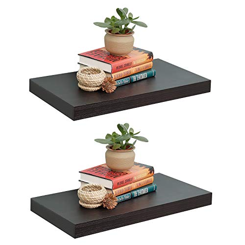 12' Deep Floating Wall Shelves 2 Pack,Wall Mounted Wide Big Size Display Ledge Shelf 23.6' L x 11.8' D x 2' T, for Bedroom, Bathroom, Living Room and Kitchen Storage,Espresso.
