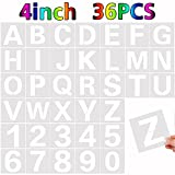 36 Pcs Large Alphabet Letter Stencils and Number Stencils,Reusable Letter Stencils for Painting on Wood Wall Fabric Rock Chalkboard Glass (4 Inches)