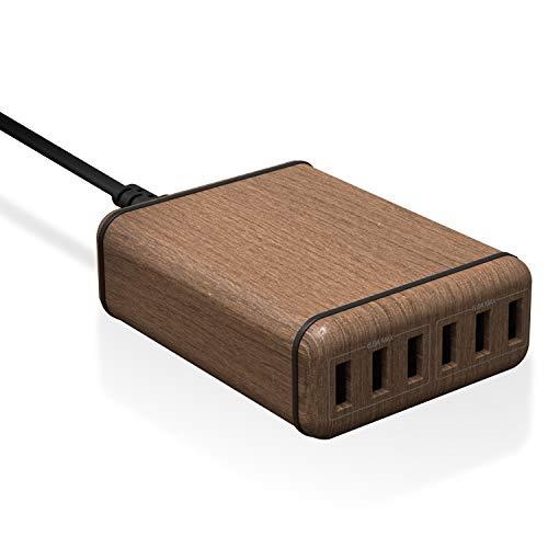 エレコム USB コンセント 充電器 合計60W Aポート×6 【 iPhone/Android/タブレット 対応 】 木目 ウォールナット EC-ACD01W