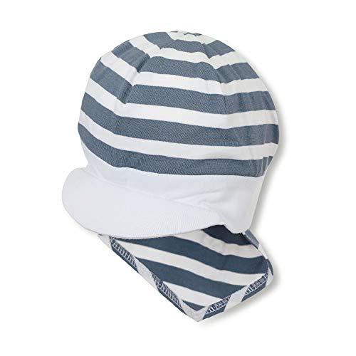 Sterntaler - Jungen Baby Sommermütze mit Schirm und Nackenschutz, Piratentuch, UV-Schutz 50+, blau weiß - 1501920, Größe 51