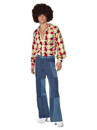 shoperama 70er Jahre Retro Herren Disco Kostüm Hemd Denim-Hose Jeans Patchwork Bad Taste Dancefloor Schlagermove Festival, Größe:XL