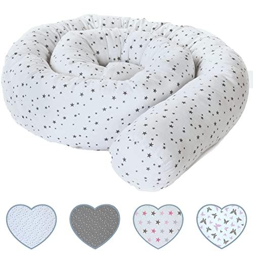 Protector cuna chichonera minicuna, cojín protector cuna (210x10 cm), nido bebé chichonera para cuna 60x120 70x120 cm, funda de algodón y certificado por OEKO-TEX (estrellas, blanco, gris)