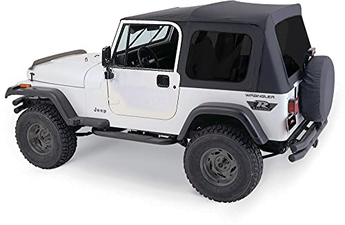 RAMPAGE PRODUCTS 68035 Complete Soft Top Kit with Frame & Hardware for 1976-1995 Jeep Wrangler & CJ7, with Full Steel Doors, Black Diamond w/Tinted Windows