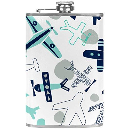 Petacas de Alcohol Aviones Azul Gris Petaca 227ml Acero Inoxidable para Whisky Vodka Alcohol líquido con embudos para Hombres y Mujeres 9.2x15cm