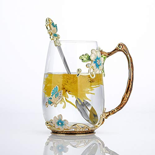 evecase Enamels Butterfly Flower Lead-Free Glass Coffee Mugs Tea Cup with Steel Spoon Set, Personalised Gifts for Women Wife Mum Teacher Friends Christmas Birthday Mothers Valentines Day