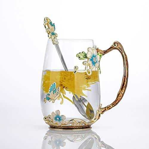Luka Tech - Tazza da tè in vetro smaltato, con fiori di farfalla, con cucchiaio, ideale come regalo di compleanno per lei, donne, mamma, amici, festa della mamma, (blu-alto)