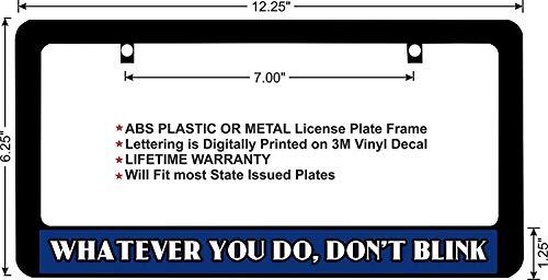 """LOHIGHH Dr Who Whatever You Do, Don't Blink Blue BG Custom Black License Plate Frame Metal 12"""" X 6"""""""