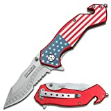 SairusPlay 7.25' TAC FORCE USA AMERICAN FLAG SPRING ASSISTED FOLDING POCKET KNIFE U.S.