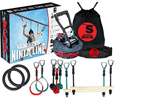 Slackers Ninjaline - 56' Intro Kit - Includes 9 Hanging Attachments - Best Outdoor Ninja Warrior Training Equipment for Kids - Build Your Very Own Backyard Obstacle Course - Rated Ages 5+