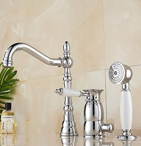 Grifo de bañera de 3 agujeros con ducha de mano Baño Juego de ducha de baño Montaje en cubierta Grifo mezclador de agua fría caliente