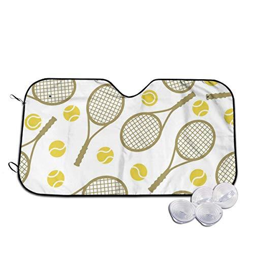 UQ Galaxy Auto Sonnenschirm,Tennisschläger Und Tennisbälle Frontscheiben-Sonnenschutz, Personalisierte Auto-Windschutzscheiben-Sonnenschutz Für Minivan-Fahrzeuge,70x130cm