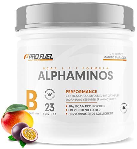 ALPHAMINOS | TESTSIEGER BCAA Pulver 2:1:1 | Das ORIGINAL von ProFuel | Essentielle Aminosäuren | Unfassbar leckerer Geschmack (Mango-Maracuja)