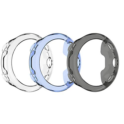 MWOOT 3 Fundas Silicona Compatible con Garmin Forerunner 45 GPS Running Watch Protección, Anti-caída Carcasas Protector Proteger Reloj Garmin Forerunner 45 Large Watch Negro/Azul/Blanco