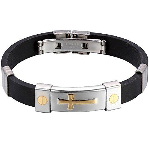 Cupimatch Herren Armband, Sportarmband silikon Herrenarmband mit Edelstahl Schraube Gold Kreuz Armreif, schwarz Silber