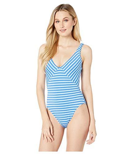 Polo Ralph Lauren Damen-Badeanzug aus Piqué-Streifen, Mitered Lace Back Mio Einteiler - blau - X-Large