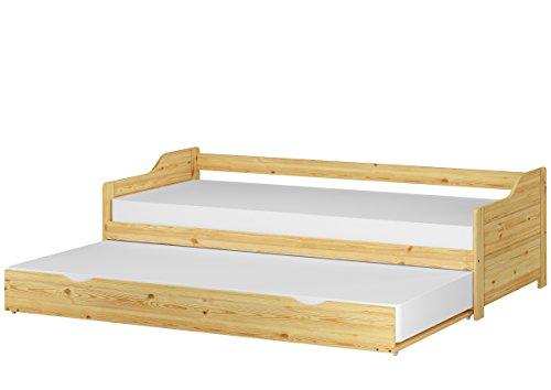 Erst-Holz® Sofabett zweiter Schlafplatz mit Matratze Bettgestell 90x200 Einzelbett Bettkasten 60.34-09 M