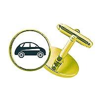 幾何学のクラシックカーの緑のシルエット スタッズビジネスシャツメタルカフリンクスゴールド