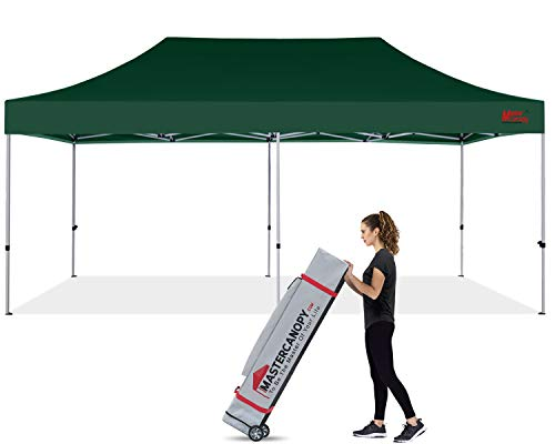 MASTERCANOPY Pop Up Canopy Tent 10x20 Commercial Instant Canopies with Heavy Duty Roller Bag, Bonus 4 Canopy Sand Bags (10'x20',Forest Green)