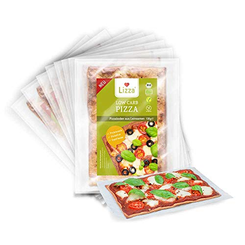 Lizza Low Carb Pizzaböden Original | Bio. Glutenfrei. Vegan. Kohlenhydratarm. Proteinreich. Ballaststoffreich | Geeignet für Vegane, Glutenfreie und Keto Ernährung | 8 Pizzaböden