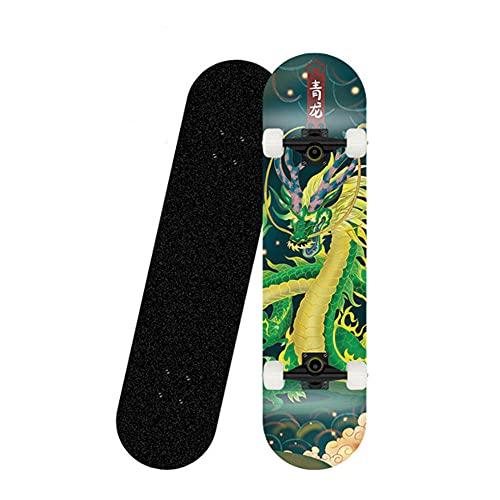Skateboard, Komplettboard 31 x 8 Zoll Skateboards mit Doppel-Kick, ABEC-7 Kugellager, 8-lagigem Ahornholz Longboard für Kinder Erwachsene Anfänger-Skateboard