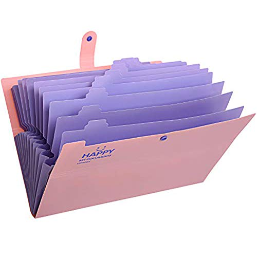 Skydue Expanding File Folders 12 Pockets Accordion File Folder A4 and Letter Size Paper Document Organizer Folders for School Office (Pink)