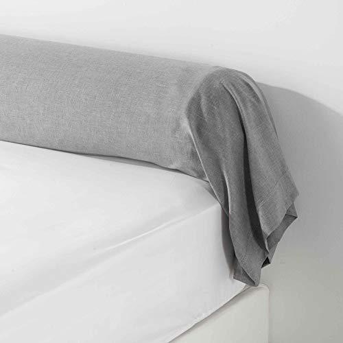 douceur d'intérieur 1642744 Taie de Traversin, Polyester, Gris, 85 x 185 cm