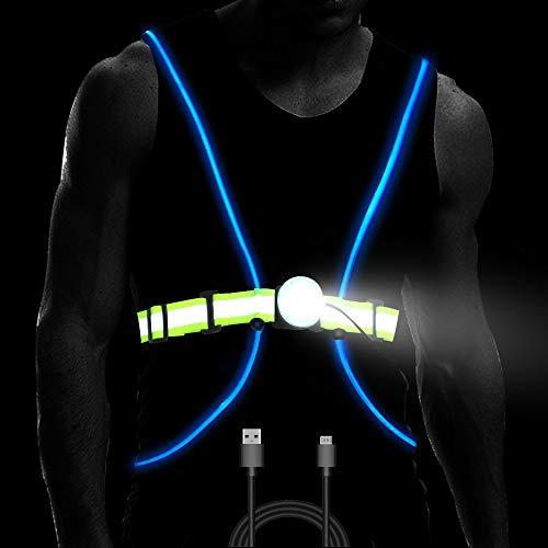 Longu Led Running Reflective Vest Safety Night Light USB Rechargeable Cycling Multicolored Fiber Optics Suit Women Men KidS Adjustable Light weight Gear For Jogging Biking