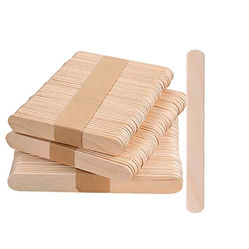 LATTCURE 350 Stück Holzstäbchen Holzspatel, Holzeisstiele zum Basteln, Holzstäbe, Holzstäbchen, Holzstiele, Eisstiele aus Holz, Holzspatel Stiele