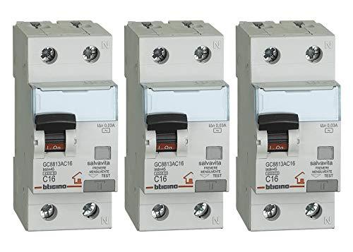 Bticino - Kit compuesto de 3 piezas del interruptor magnetotérmico diferencial 16A...