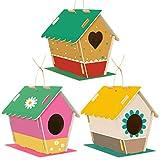 LEMESO Kit Dipinto Fai da Te Bambini Pittura Attrezzi Accessori 3 Casette per Uccelli Legno Modelli da Realizzare Costruire, Giochi Scuola Materna Classe Giocattoli Educativi Attività Creativa