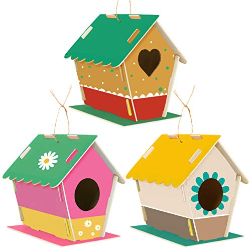 LIHAO 3 Stücke Vogelhaus zum Bemalen aus Holz DIY für Kinder Vogelfutterhaus Dekorieren Bastelset Spielzeug