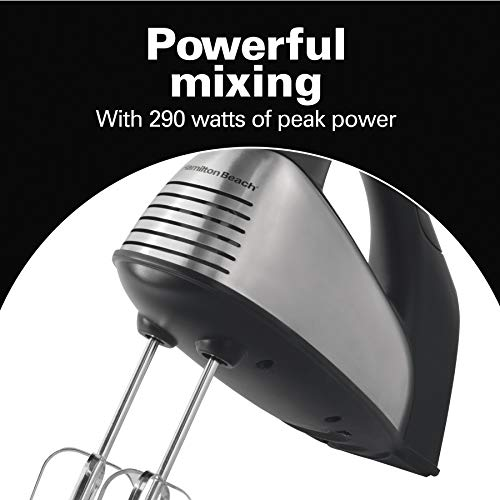 Hamilton Beach Classic 6-Speed Electric Hand Mixer with Snap-On Storage Case, Brushed Stainless, Traditional and Wire Beaters, Whisk (62650)