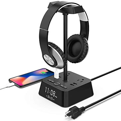 KDrive Headphone Stand with 4 USB Charging Port, 2 AC Outlet, LED Desk Lamp Lighting, HD Clock Display - Universal Sizes, Gaming Headset Hanger Organizer