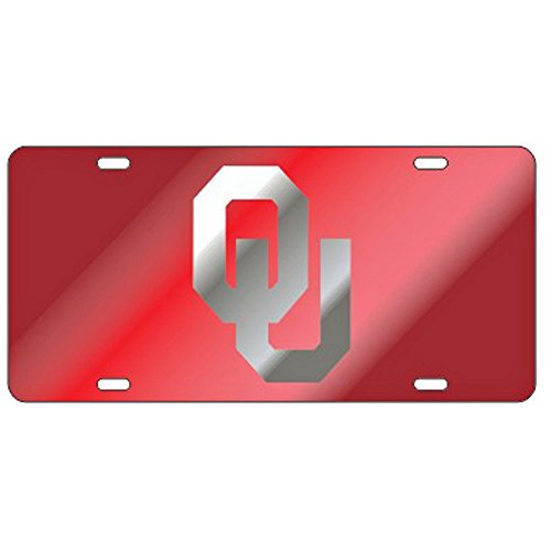 Craftique Oklahoma Sooners Red w/Mirror OU Laser Cut License Plate