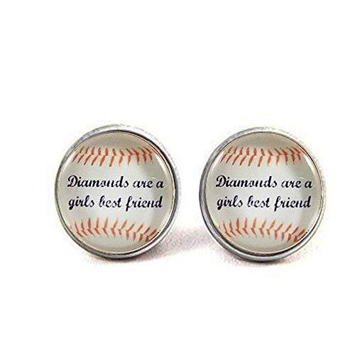 aaaAA Damen Baseball-Ohrringe Mädchen Baseball-Geschenk Glas Ohrringe Team Geschenke Diamanten sind EIN Mädchen Best Friend Damen Baseball-Fan