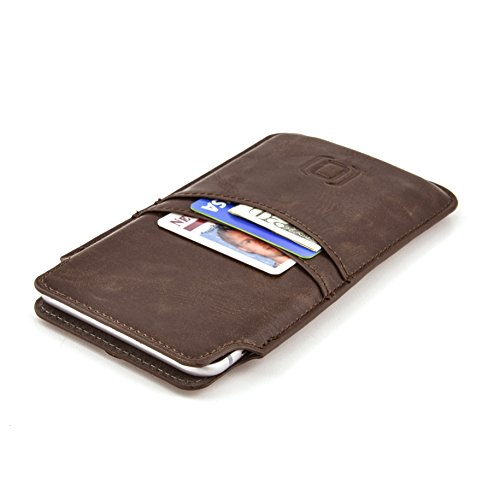 Dockem Provincial Wallet Sleeve for iPhone 11 Pro Max, XS Max, 8 Plus, 7 Plus, 6/6S Plus - Vintage Synthetic Leather Pouch Cover with 2 Card Holder Slots, Brown