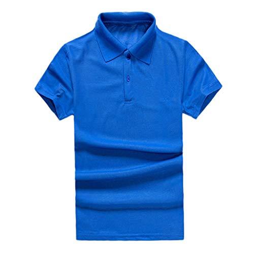 Herren Sommer Einfarbig Einfach Shirt Frashing V-Ausschnitt mit Knopf Männer Sweatshirt Shirt Kurzarmshirt Sportshirt T-Shirt Freizeit Casual Top Hemd Hemd Pullover M-3XL
