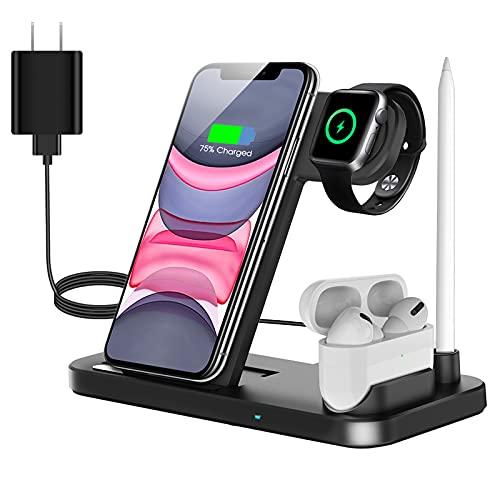 QI-EU Caricatore Wireless, Caricabatterie Wireless Qi 4 in 1 Stazione di Ricarica Wireless per Apple Watch Airpods Pro iPhone 12/11/11pro/X/XS/XR/8/8 Plus,Galaxy S21,con adattatore