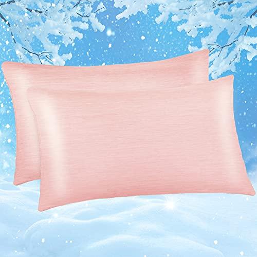 Kissenbezug 50 x 80cm, Marchpower 2er kühlender Kissenhülle 100% Baumwolle, mit Japanische Q-Max>0.43 Arc-Chill Kühlfaser, Superweicher Kopfkissenbezug Haar- und Hautpflege mit Reißverschluss, Pink