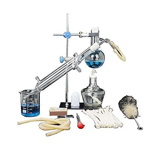 Laboratorio de Química profesional de cristal del instrumento del kit, la Ciencia esencial Alcohol Aceite Destilación equipos de purificación Appliance con hierro Suministros de enseñanza Marco