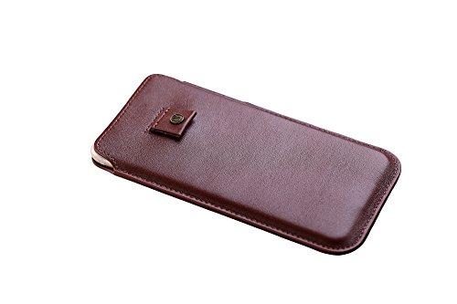 Cronus und Rhea®   Luxus Smartphone Tasche mit Zugband aus exklusivem Leder (Athena)   Hülle - Etui - Hülle   Echtleder   Mit eleganter Geschenkbox   Herren - Damen (Cognac)