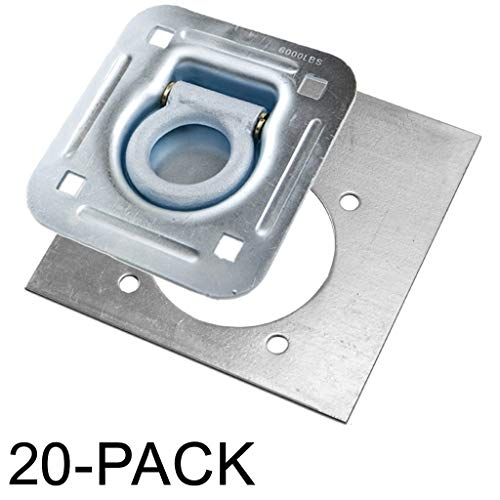 Recessed D-Ring 6,000 lb. Cap. Tiedowns w/ Backing Plate - 20 pack