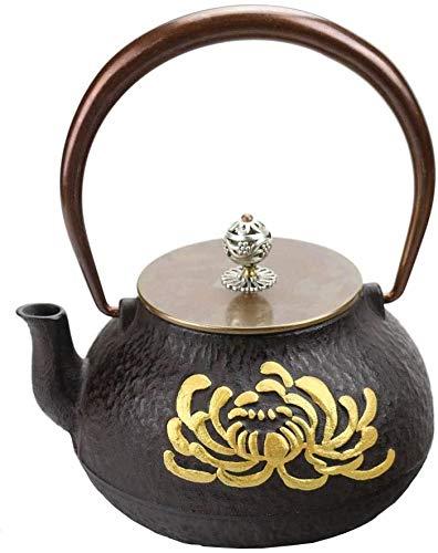 ZQADTU Tetera de cerámica, Tetera de Hierro Fundido de 1,0 l, Tetera Hecha a Mano, Juego de té Retro, Fondo Plano para Estufa de carbón, Cocina de inducción