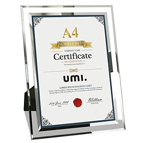 Amazon Brand - Umi Dokumentrahmen aus Glas DIN A4 Glasbilderrahmen 21x29,7 CM für Urkunde und Zertifikate